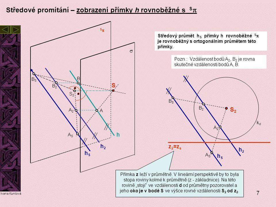 7 Středové promítání – zobrazení přímky h rovnoběžné s S  Středový průmět h S přímky h rovnoběžné S  je rovnoběžný s ortogonálním průmětem této přím