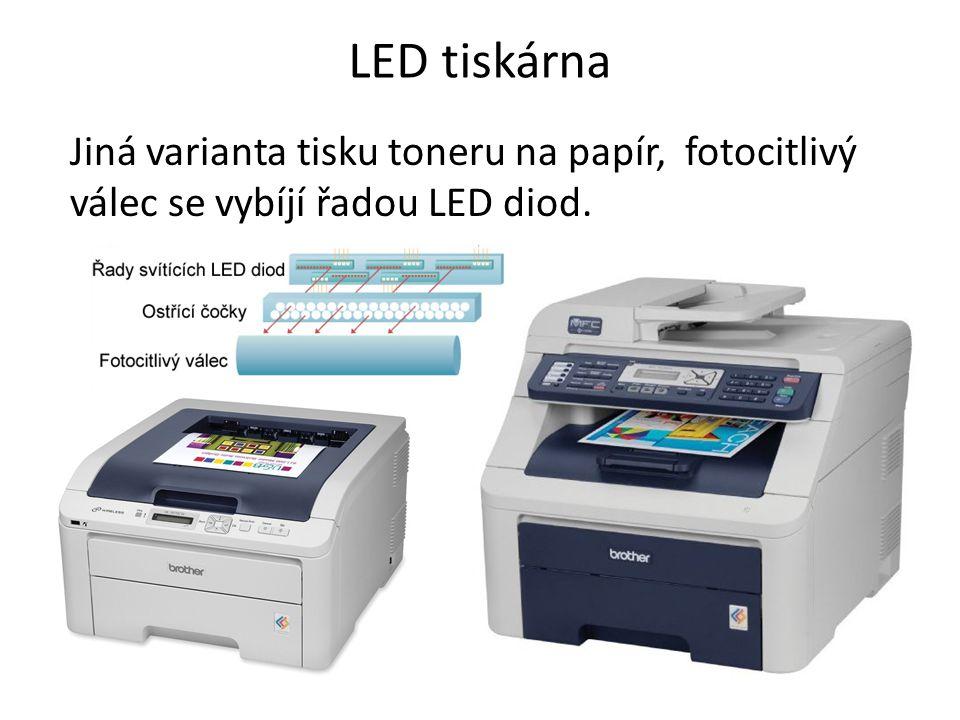 LED tiskárna Jiná varianta tisku toneru na papír, fotocitlivý válec se vybíjí řadou LED diod.