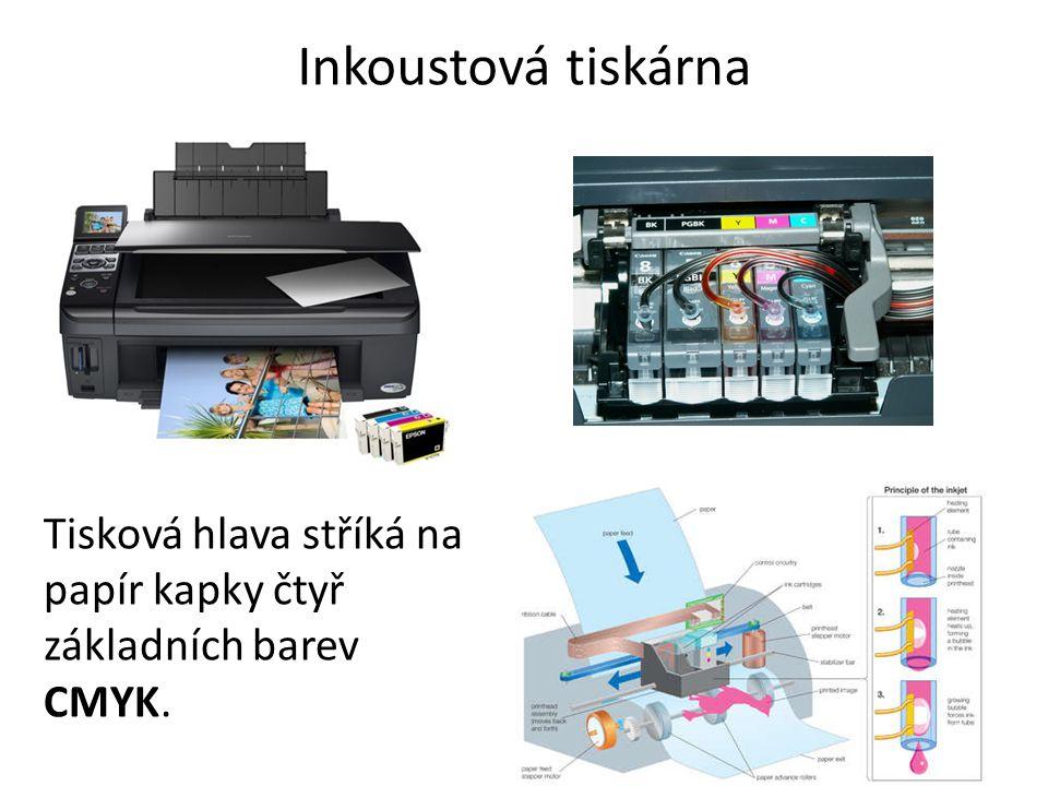 Termo tiskárna Tiskne na speciální termocitlivý papír, který zčerná na místech zahřátých tiskovou hlavou
