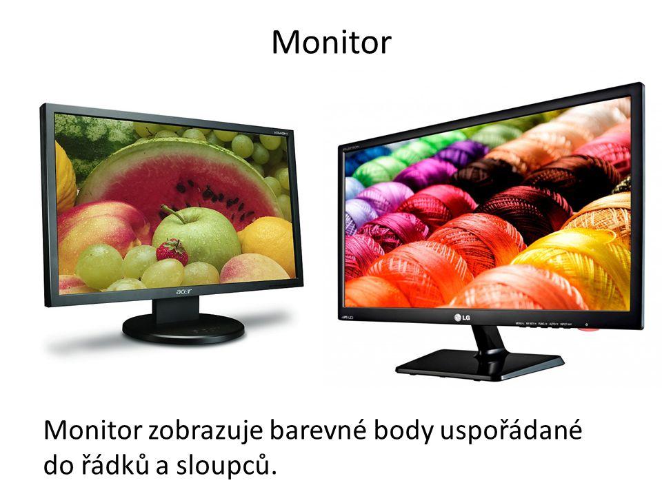 Monitor Monitor zobrazuje barevné body uspořádané do řádků a sloupců.