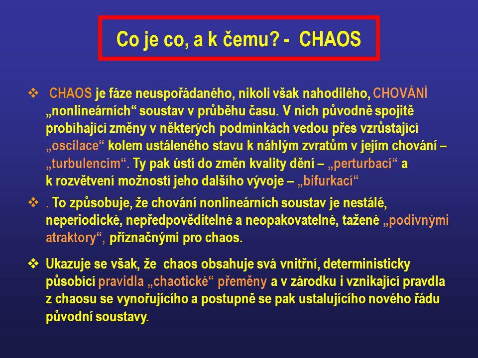 """Co je co, a k čemu? - CHAOS  CHAOS je fáze neuspořádaného, nikoli však nahodilého, CHOVÁNÍ """"nonlineárních"""" soustav v průběhu času. V nich původně spo"""