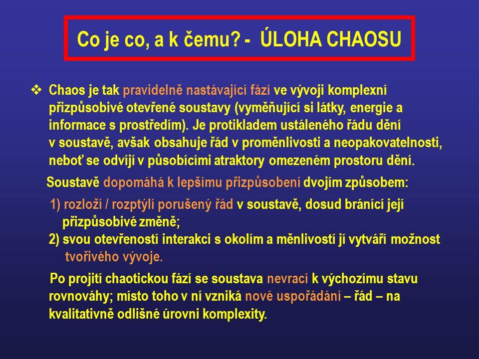  Chaos je tak pravidelně nastávající fází ve vývoji komplexní přizpůsobivé otevřené soustavy (vyměňující si látky, energie a informace s prostředím).