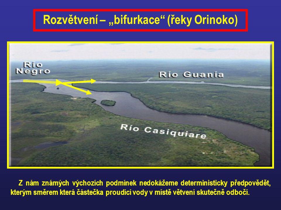 """Rozvětvení – """"bifurkace (řeky Orinoko) Z nám známých výchozích podmínek nedokážeme deterministicky předpovědět, kterým směrem která částečka proudící vody v místě větvení skutečně odbočí."""