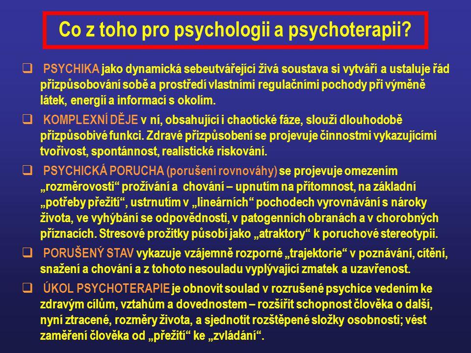 Co z toho pro psychologii a psychoterapii?  PSYCHIKA jako dynamická sebeutvářející živá soustava si vytváří a ustaluje řád přizpůsobování sobě a pros