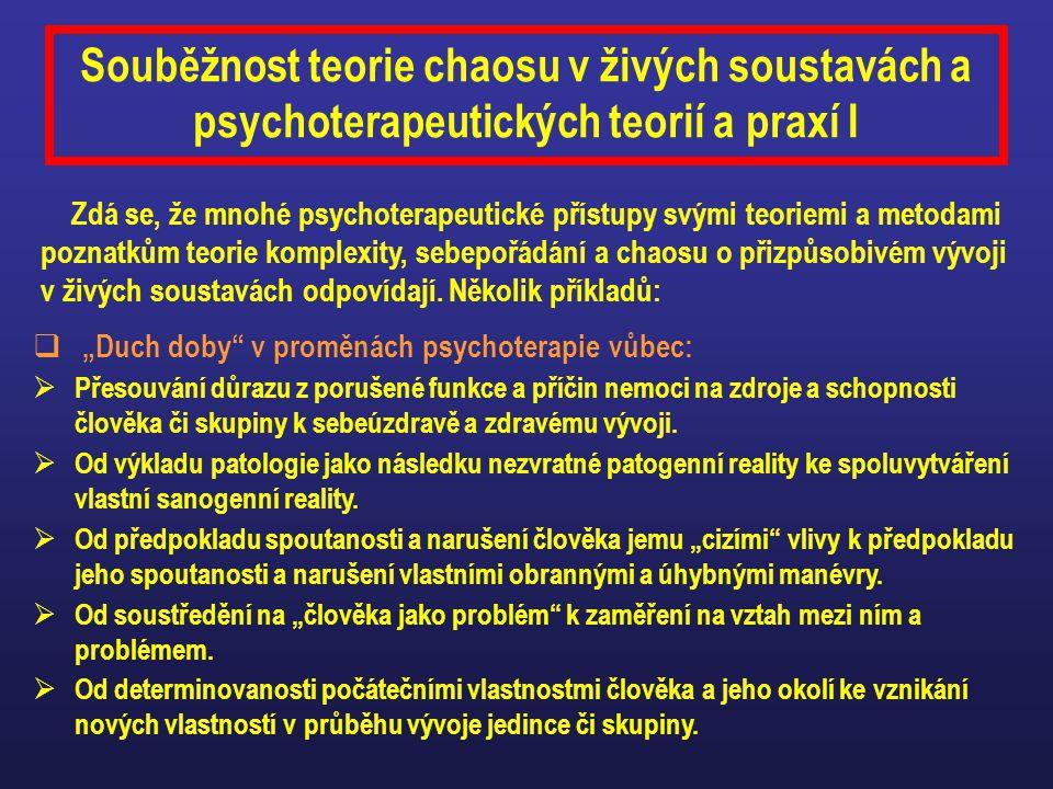 Souběžnost teorie chaosu v živých soustavách a psychoterapeutických teorií a praxí I Zdá se, že mnohé psychoterapeutické přístupy svými teoriemi a met