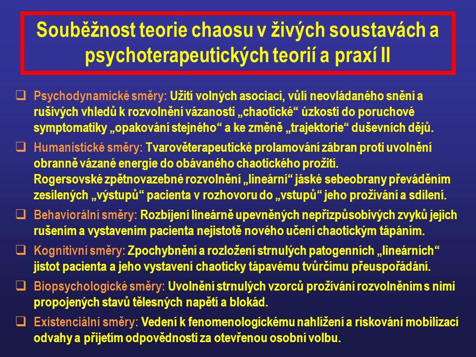 """Souběžnost teorie chaosu v živých soustavách a psychoterapeutických teorií a praxí II  Psychodynamické směry: Užití volných asociací, vůlí neovládaného snění a rušivých vhledů k rozvolnění vázanosti """"chaotické úzkosti do poruchové symptomatiky """"opakování stejného a ke změně """"trajektorie duševních dějů."""
