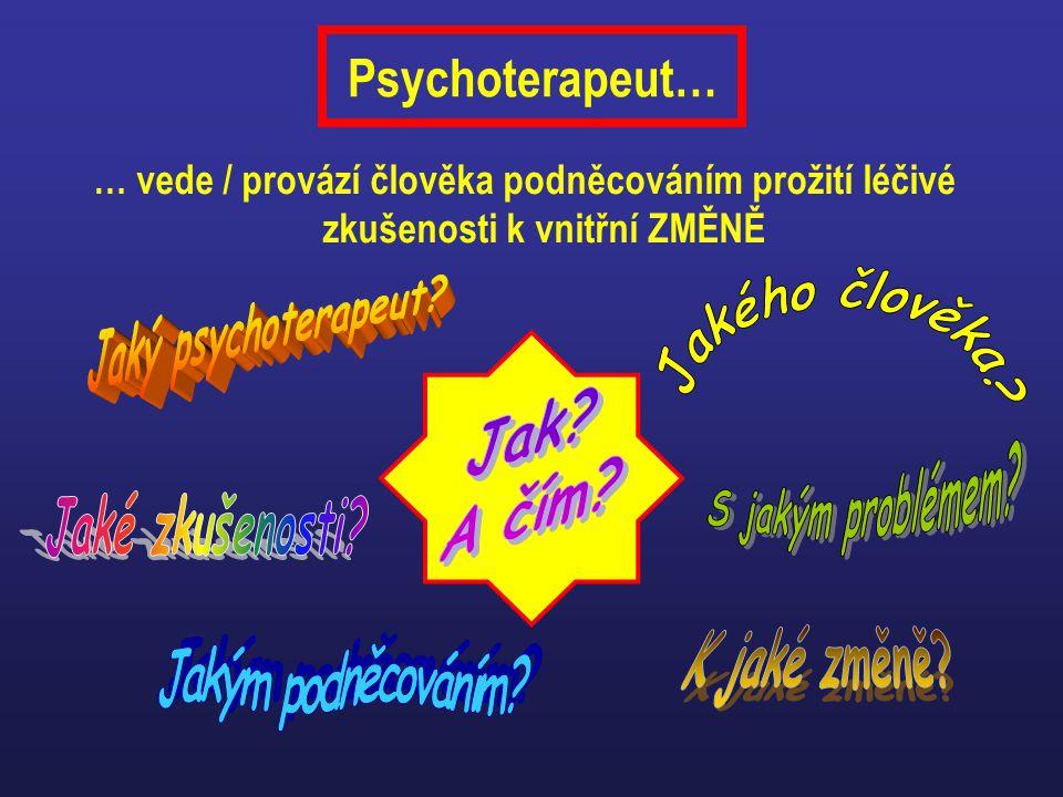 Psychoterapeut… … vede / provází člověka podněcováním prožití léčivé zkušenosti k vnitřní ZMĚNĚ