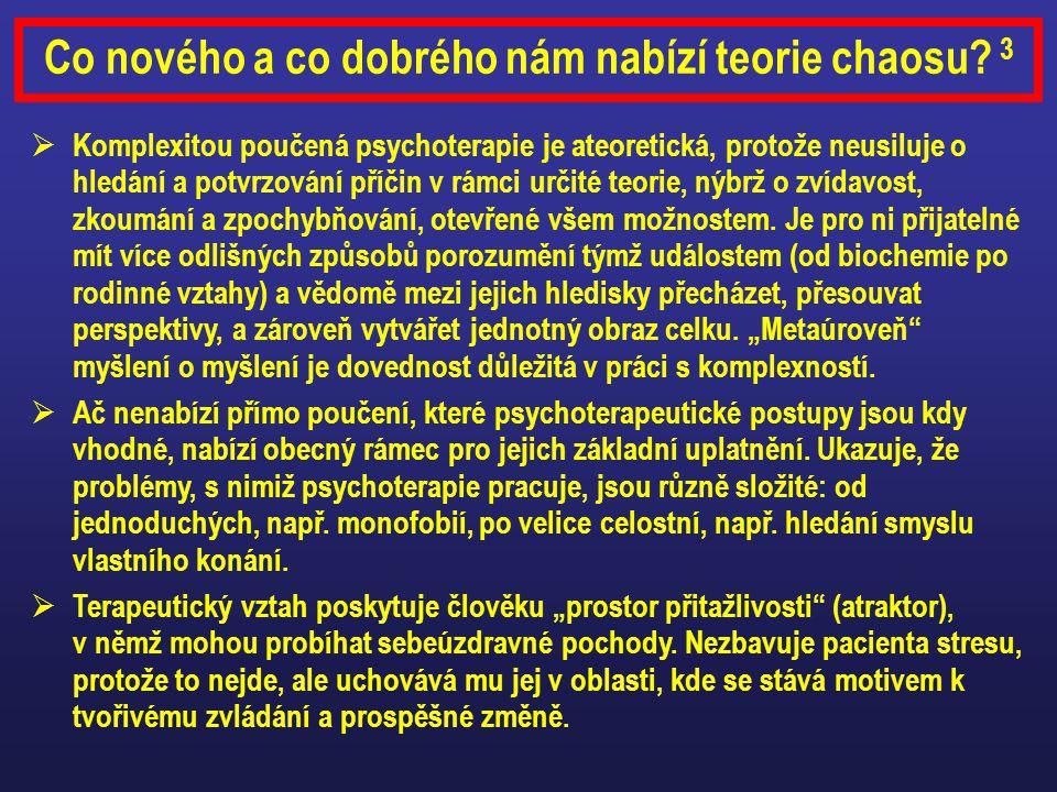 Co nového a co dobrého nám nabízí teorie chaosu? 3  Komplexitou poučená psychoterapie je ateoretická, protože neusiluje o hledání a potvrzování příči
