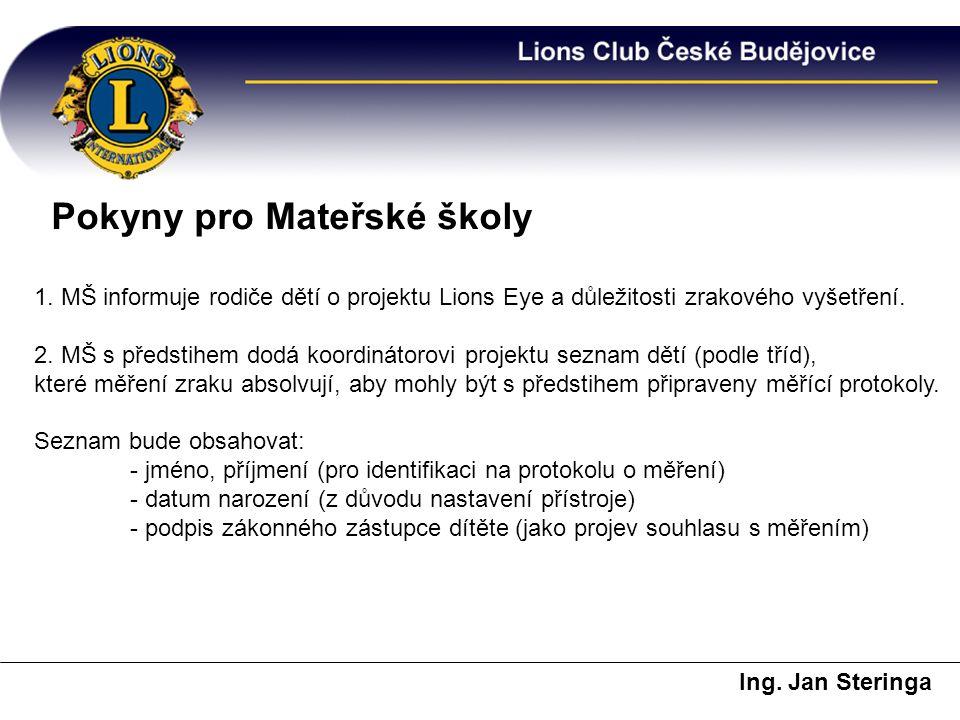 Pokyny pro Mateřské školy Ing. Jan Steringa 1. MŠ informuje rodiče dětí o projektu Lions Eye a důležitosti zrakového vyšetření. 2. MŠ s předstihem dod