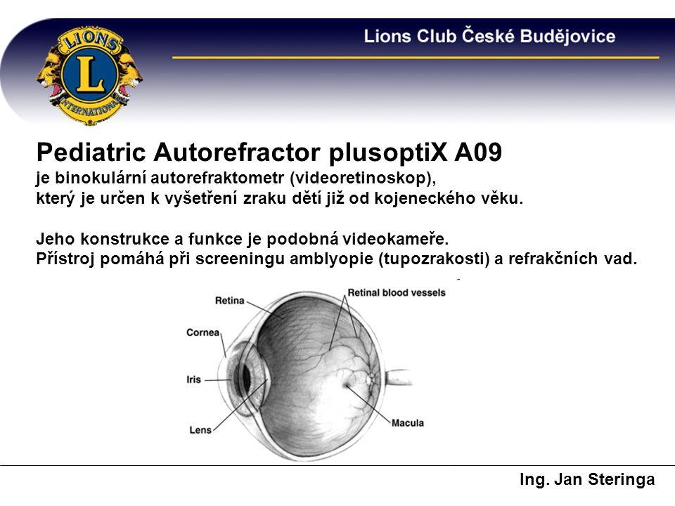 Pediatric Autorefractor plusoptiX A09 je binokulární autorefraktometr (videoretinoskop), který je určen k vyšetření zraku dětí již od kojeneckého věku