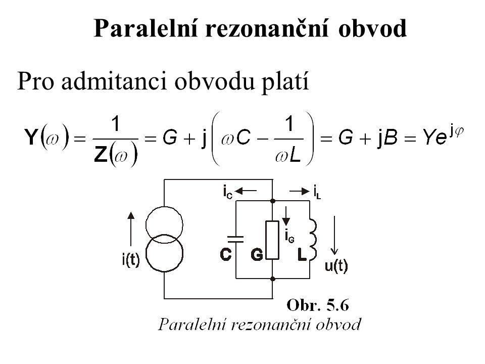 Pro admitanci obvodu platí Paralelní rezonanční obvod