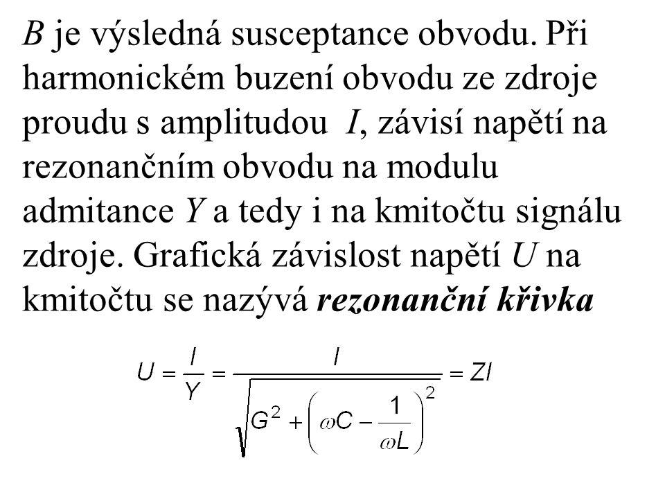 B je výsledná susceptance obvodu. Při harmonickém buzení obvodu ze zdroje proudu s amplitudou I, závisí napětí na rezonančním obvodu na modulu admitan