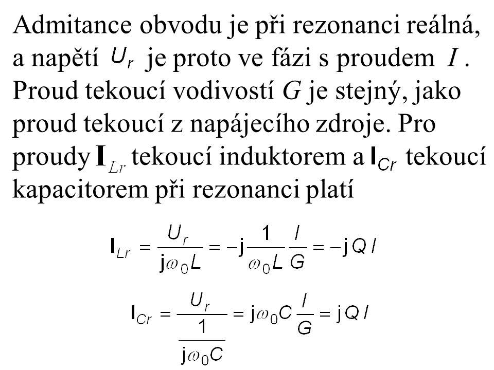 Admitance obvodu je při rezonanci reálná, a napětí je proto ve fázi s proudem I. Proud tekoucí vodivostí G je stejný, jako proud tekoucí z napájecího