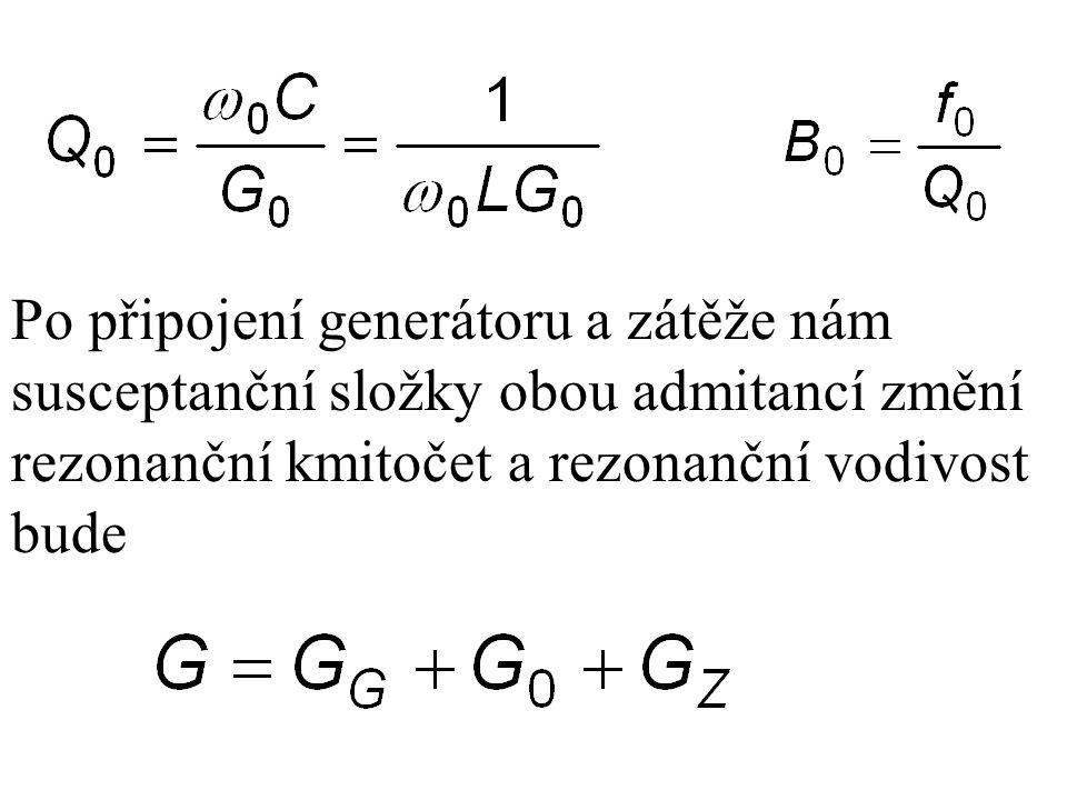 Po připojení generátoru a zátěže nám susceptanční složky obou admitancí změní rezonanční kmitočet a rezonanční vodivost bude