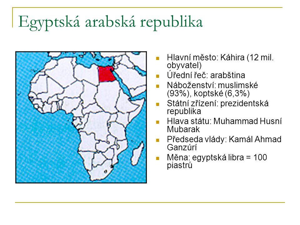 Egyptská arabská republika  Hlavní město: Káhira (12 mil. obyvatel)  Úřední řeč: arabština  Náboženství: muslimské (93%), koptské (6,3%)  Státní z