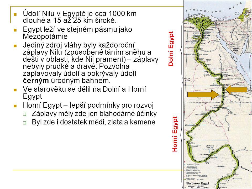  Údolí Nilu v Egyptě je cca 1000 km dlouhé a 15 až 25 km široké.  Egypt leží ve stejném pásmu jako Mezopotámie  Jediný zdroj vláhy byly každoroční
