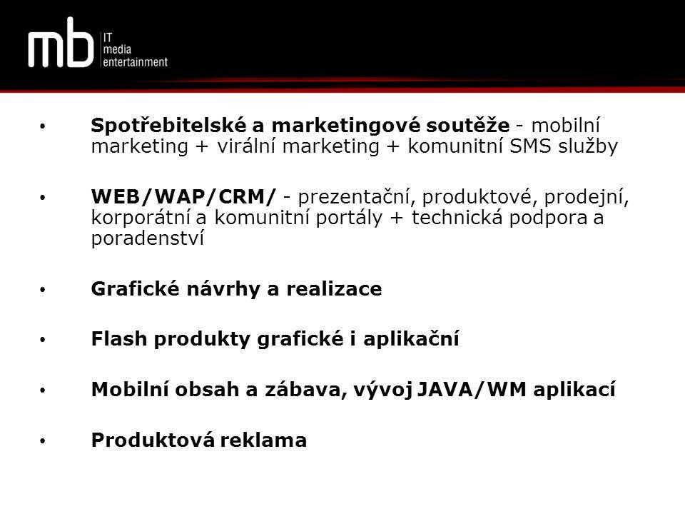 • M-BarCode - využívání zasílání čárových kódů do mobilního telefonu (Slevové kupóny, produktové slevy/ produkt zdarma,registrace, předplatné/ mikroplatba, akce/soutěž) • SMS ordering - objednávání zboží /služeb přes SMS • PR SMS platební brána • Zasílání wap-push - SMS s nabídkou produktů/zboží, odkazy na web a wap stránky, newslettery přímo do mobilního telefonu