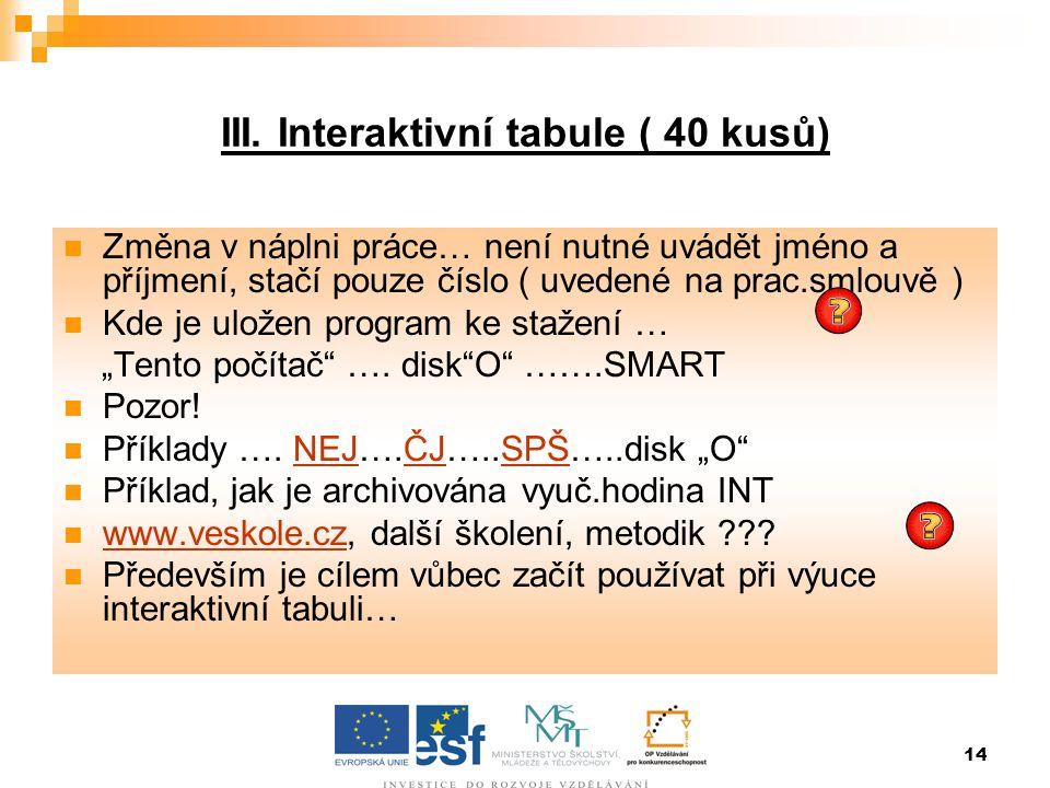 14 III. Interaktivní tabule ( 40 kusů)  Změna v náplni práce… není nutné uvádět jméno a příjmení, stačí pouze číslo ( uvedené na prac.smlouvě )  Kde