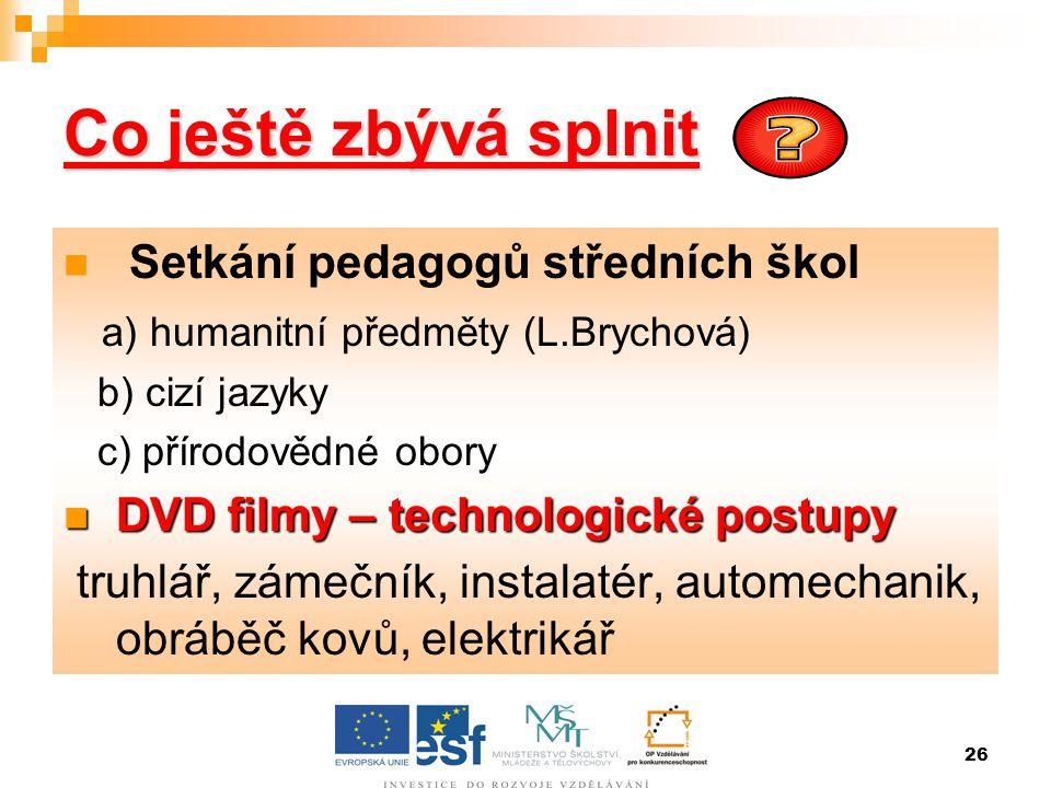 26 Co ještě zbývá splnit  Setkání pedagogů středních škol a) humanitní předměty (L.Brychová) b) cizí jazyky c) přírodovědné obory  DVD filmy – techn