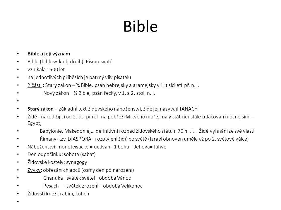 Starý zákon • SZ má 3 hlavní části: • a) Tóra ( neboli Pentateuch = Pět knih Mojžíšových) • 1.