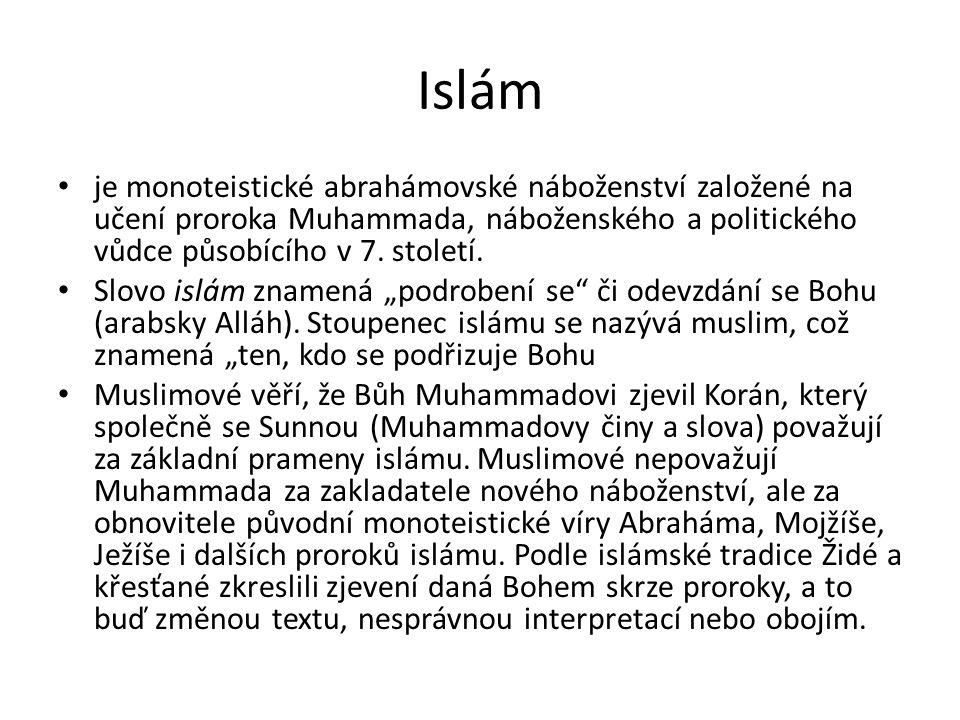 Pět pilířů víry • Muslimové jsou povinni dodržovat pět pilířů islámu, tedy pět povinností, které muslimy spojují ve společenství, zahrnující jak pravidla uctívání, tak islámské právo (šaría) • Jsou to šaháda (vyznání víry), salát (rituální modlitba), zakát (almužna), saum (půst v Ramadánu) a hadždž (pouť do Mekky)šahádasalát (rituální modlitba)zakátsaum Ramadánuhadždž