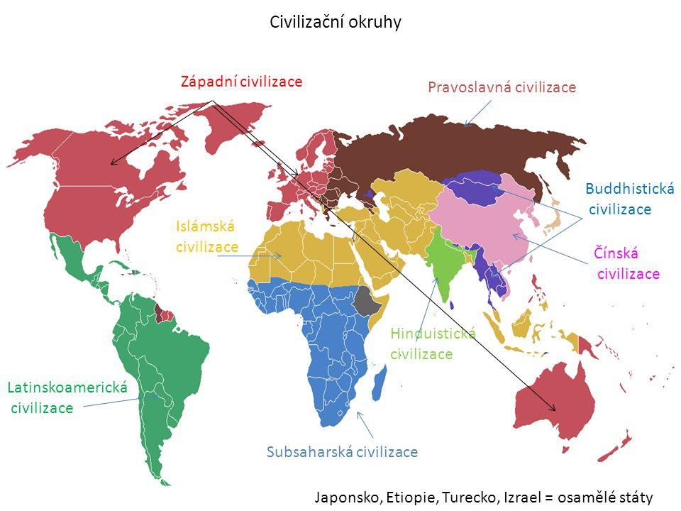 Civilizační okruhy - seznam • Západní • Pravoslavná • Islámská • Latinskoamerická • Hinduistická • Buddhistická • Čínská • Subsaharská • Osamělé státy – Izrael, Etiopie, Japonsko, Turecko civilizace