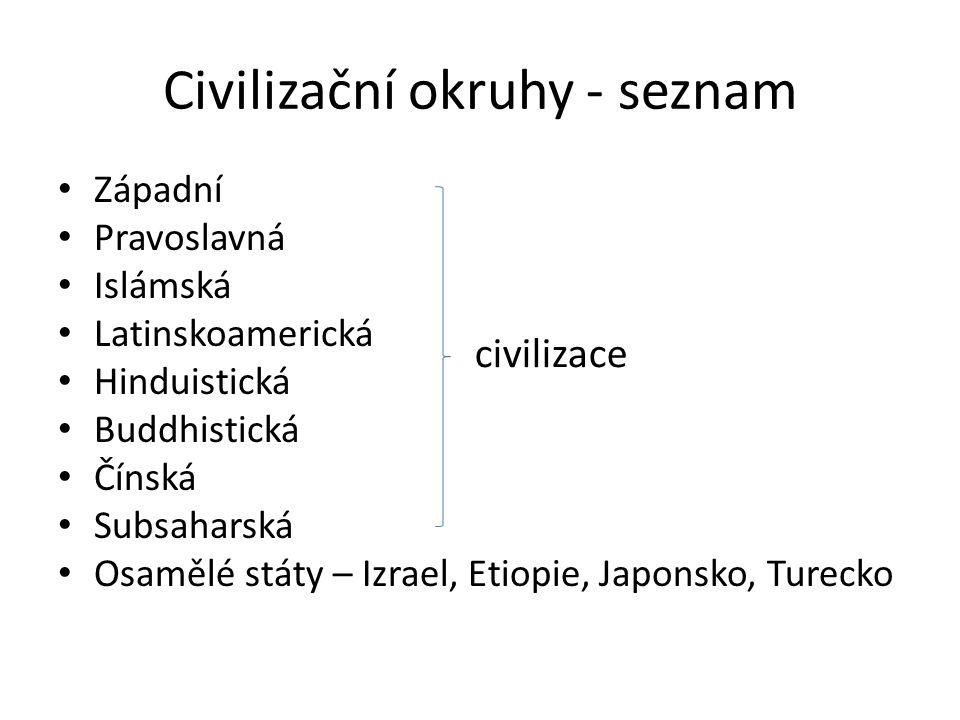 Civilizační okruhy - definice • Národy těchto okruhů vyznávají podobné společenské, morální, náboženské a jiné hodnoty, které jsou obvykle trvanlivější než aktuální politická situace.