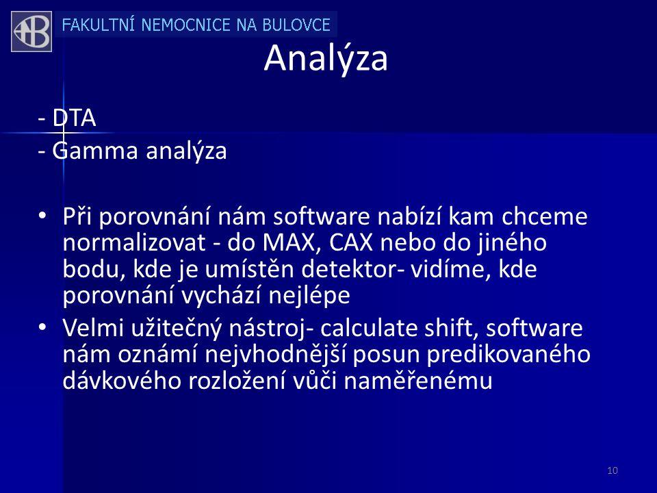 Analýza - DTA - Gamma analýza • Při porovnání nám software nabízí kam chceme normalizovat - do MAX, CAX nebo do jiného bodu, kde je umístěn detektor- vidíme, kde porovnání vychází nejlépe • Velmi užitečný nástroj- calculate shift, software nám oznámí nejvhodnější posun predikovaného dávkového rozložení vůči naměřenému 10