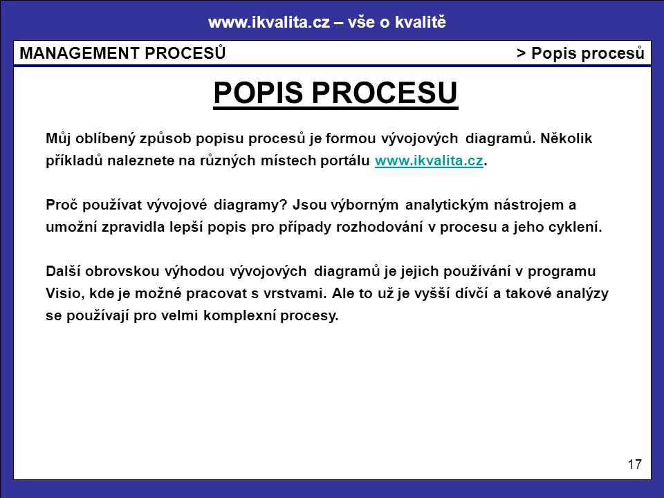 www.ikvalita.cz – vše o kvalitě MANAGEMENT PROCESŮ 17 > Popis procesů Můj oblíbený způsob popisu procesů je formou vývojových diagramů. Několik příkla
