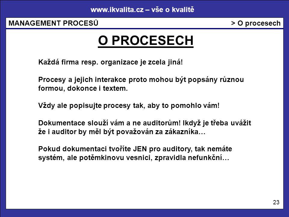 www.ikvalita.cz – vše o kvalitě MANAGEMENT PROCESŮ 23 > O procesech O PROCESECH Každá firma resp. organizace je zcela jiná! Procesy a jejich interakce