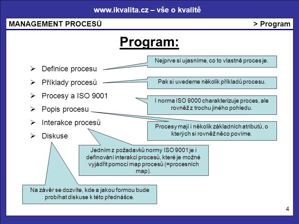 www.ikvalita.cz – vše o kvalitě MANAGEMENT PROCESŮ 4 > Program Program:  Definice procesu  Příklady procesů  Procesy a ISO 9001  Popis procesu  Interakce procesů  Diskuse Nejprve si ujasníme, co to vlastně proces je.