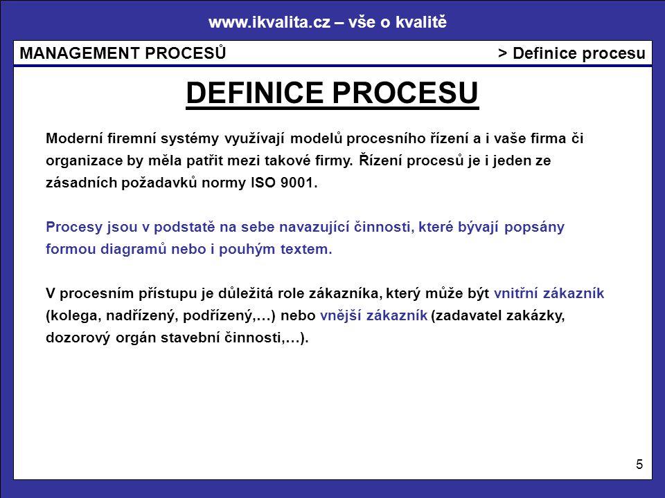 www.ikvalita.cz – vše o kvalitě MANAGEMENT PROCESŮ 5 > Definice procesu DEFINICE PROCESU Moderní firemní systémy využívají modelů procesního řízení a i vaše firma či organizace by měla patřit mezi takové firmy.