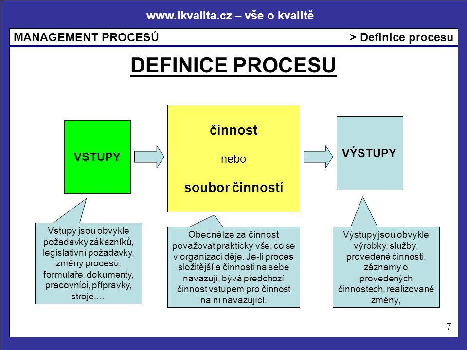 www.ikvalita.cz – vše o kvalitě MANAGEMENT PROCESŮ 7 > Definice procesu VSTUPY VÝSTUPY činnost nebo soubor činností DEFINICE PROCESU Vstupy jsou obvyk