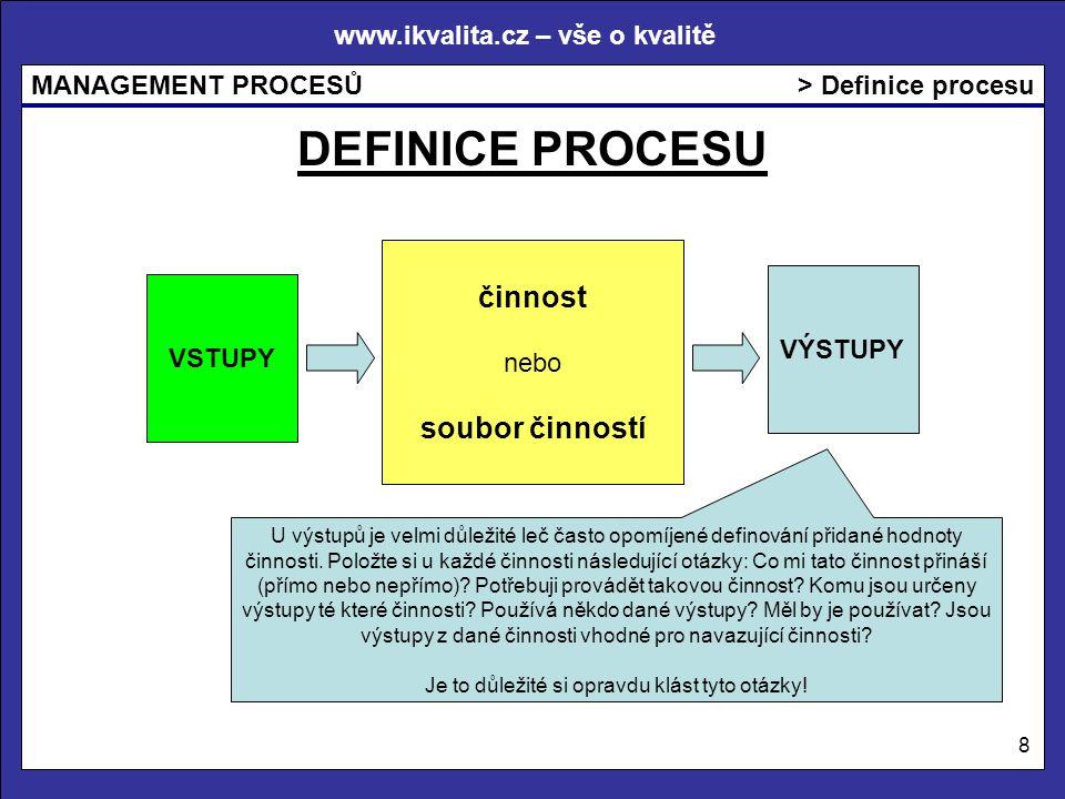 www.ikvalita.cz – vše o kvalitě MANAGEMENT PROCESŮ 8 > Definice procesu VSTUPY VÝSTUPY činnost nebo soubor činností DEFINICE PROCESU U výstupů je velmi důležité leč často opomíjené definování přidané hodnoty činnosti.