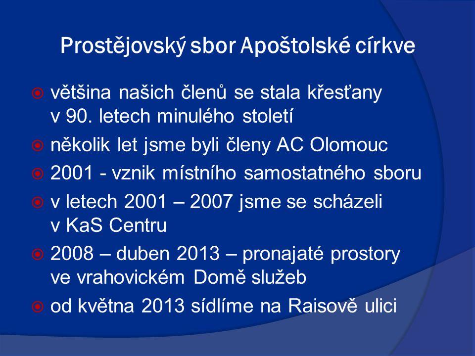 Prostějovský sbor Apoštolské církve  většina našich členů se stala křesťany v 90. letech minulého století  několik let jsme byli členy AC Olomouc 