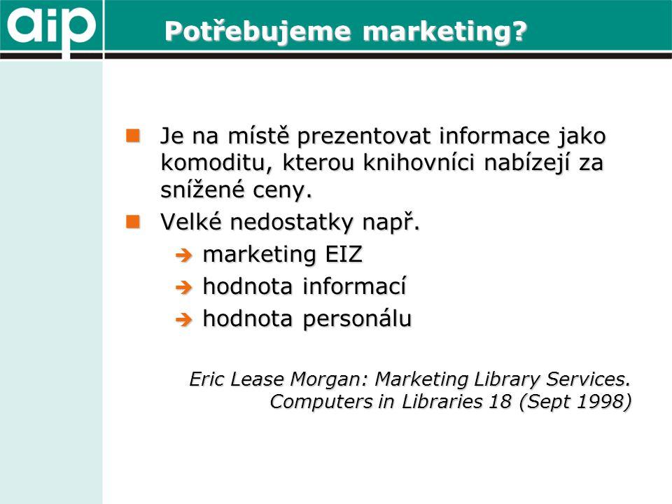 Potřebujeme marketing?  Je na místě prezentovat informace jako komoditu, kterou knihovníci nabízejí za snížené ceny.  Velké nedostatky např.  marke