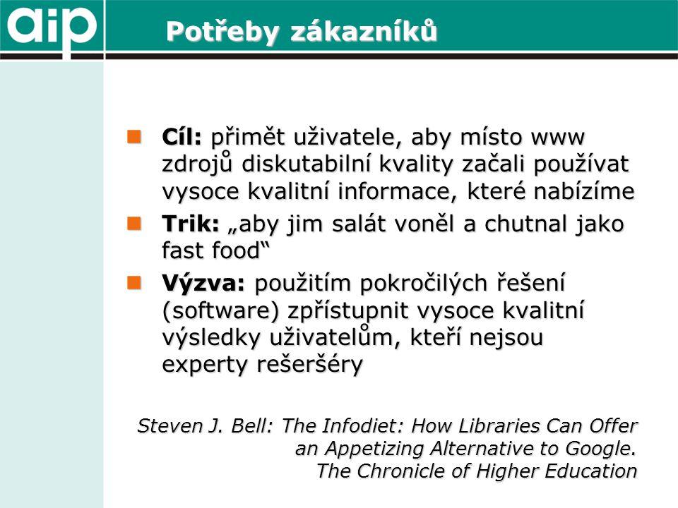 Potřeby zákazníků  Cíl: přimět uživatele, aby místo www zdrojů diskutabilní kvality začali používat vysoce kvalitní informace, které nabízíme  Trik: