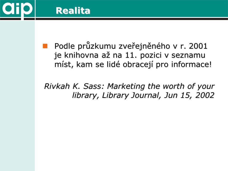 Realita  Podle průzkumu zveřejněného v r. 2001 je knihovna až na 11. pozici v seznamu míst, kam se lidé obracejí pro informace! Rivkah K. Sass: Marke