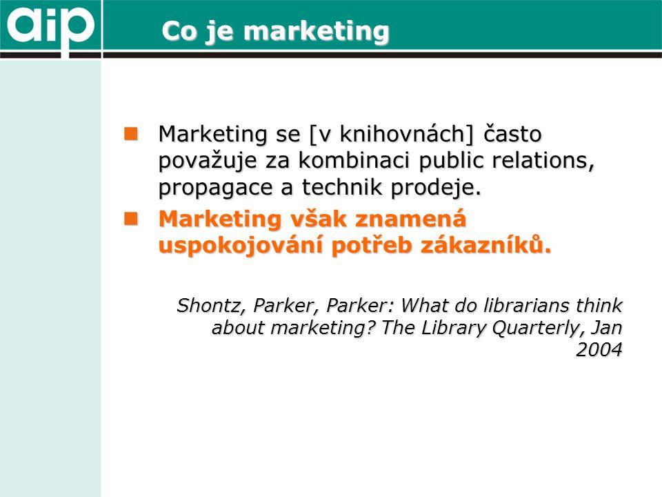 Co je marketing  Marketing se [v knihovnách] často považuje za kombinaci public relations, propagace a technik prodeje.  Marketing však znamená uspo