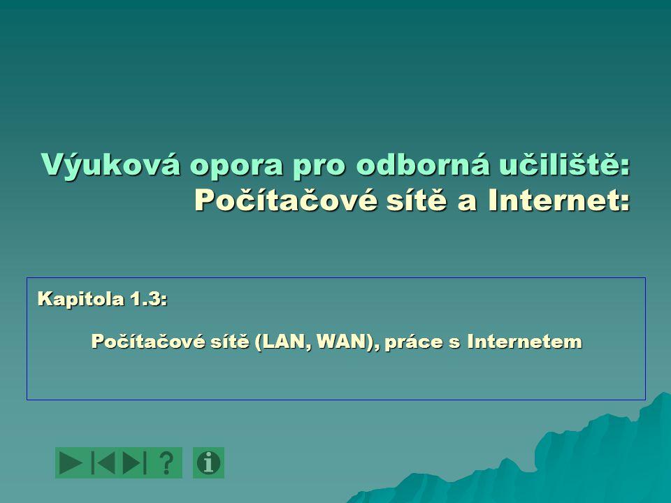 Výuková opora pro odborná učiliště: Počítačové sítě a Internet: Počítačové sítě (LAN, WAN), práce s Internetem Kapitola 1.3: