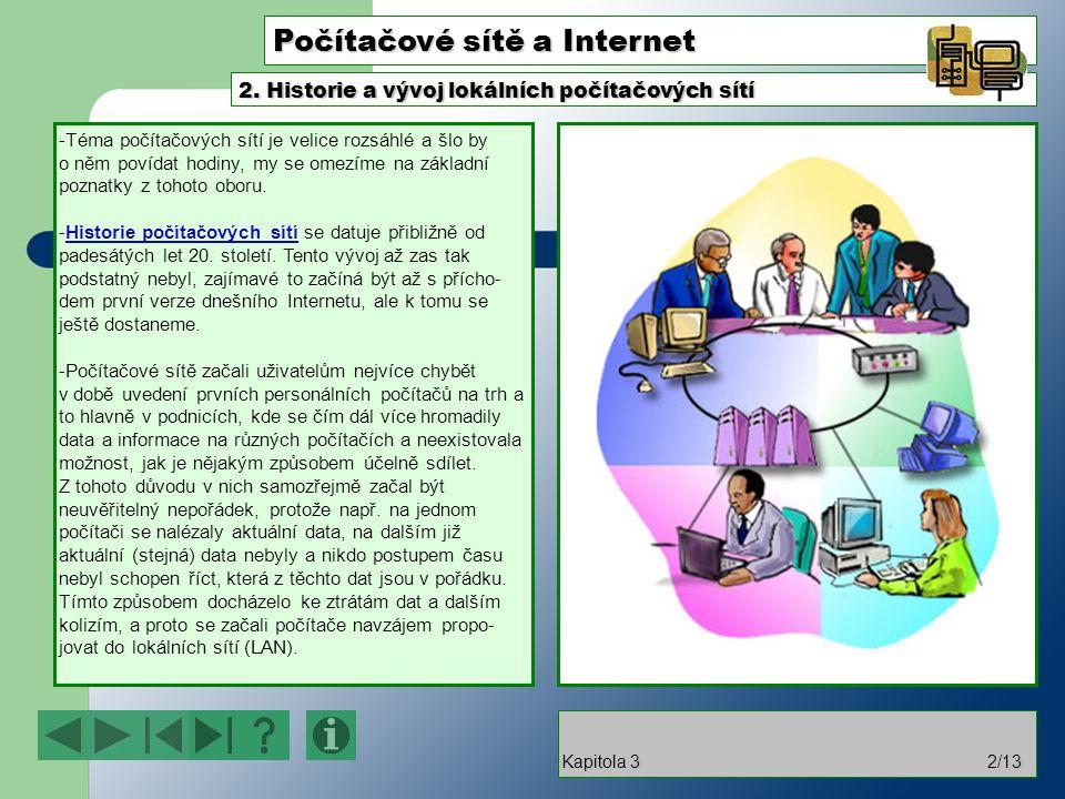 Počítačové sítě a Internet -Téma počítačových sítí je velice rozsáhlé a šlo by o něm povídat hodiny, my se omezíme na základní poznatky z tohoto oboru