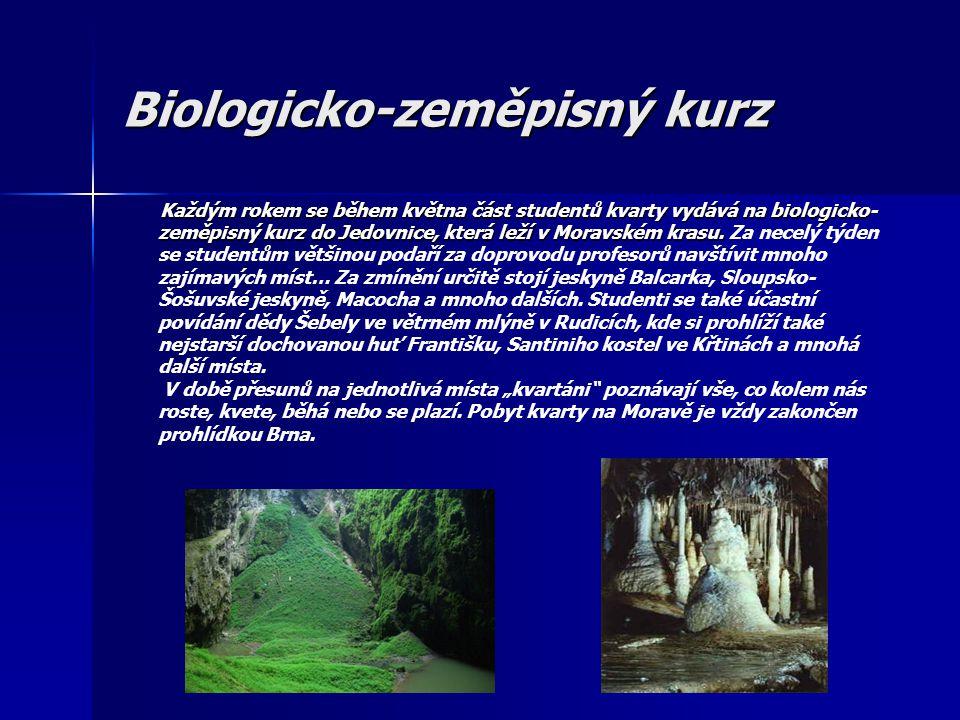 Biologicko-zeměpisný kurz Každým rokem se během května část studentů kvarty vydává na biologicko- zeměpisný kurz do Jedovnice, která leží v Moravském