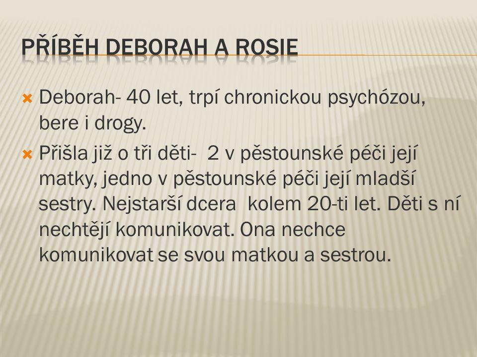  Deborah- 40 let, trpí chronickou psychózou, bere i drogy.