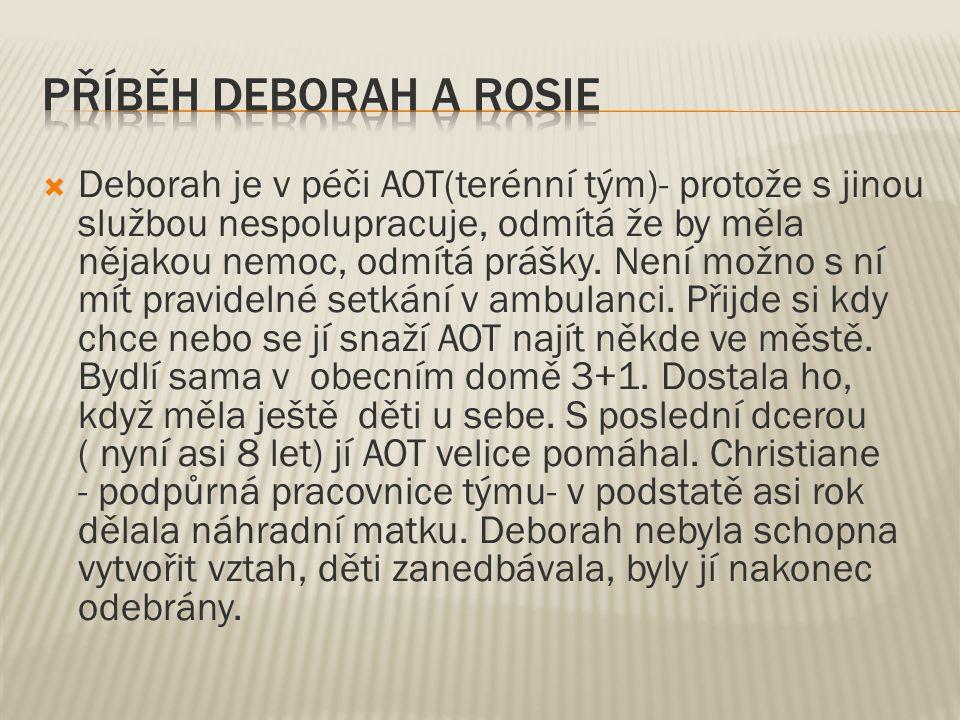  Deborah je v péči AOT(terénní tým)- protože s jinou službou nespolupracuje, odmítá že by měla nějakou nemoc, odmítá prášky.