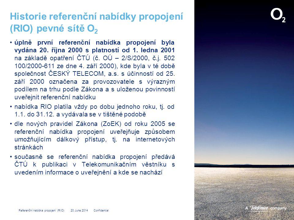 Referenční nabídka propojení (RIO) 20 June 2014 Confidential RIO Příloha 4 – Účtování a placení Obsahem Přílohy 4 je: •popis shromažďování údajů, •postup vyúčtování a placení, •spory týkající se vyúčtování a placení cen za služby poskytované společností Telefónica O2 společnosti OLO a naopak jenž jsou uvedené v Příloze 1.