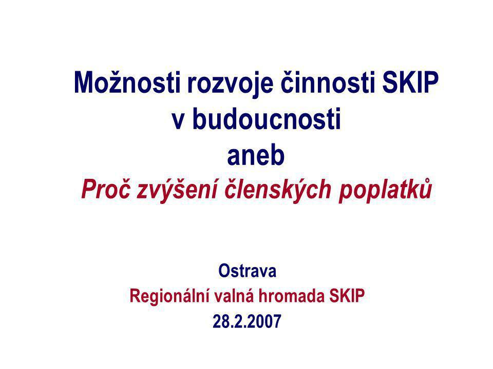 Možnosti rozvoje činnosti SKIP v budoucnosti aneb Proč zvýšení členských poplatků Ostrava Regionální valná hromada SKIP 28.2.2007