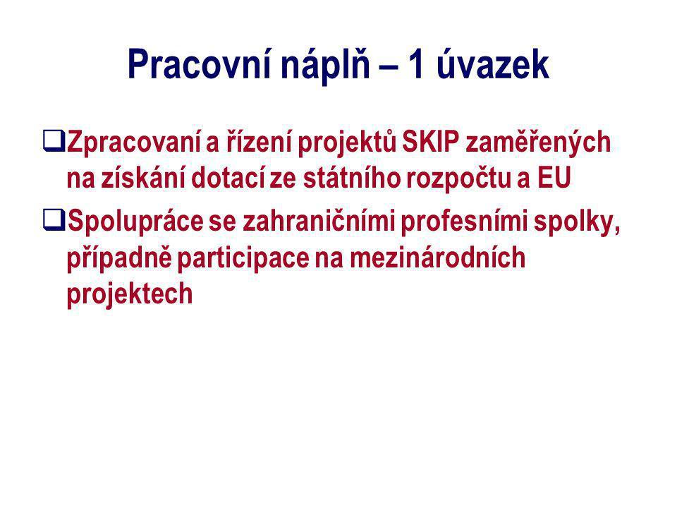 Pracovní náplň – 1 úvazek  Zpracovaní a řízení projektů SKIP zaměřených na získání dotací ze státního rozpočtu a EU  Spolupráce se zahraničními profesními spolky, případně participace na mezinárodních projektech
