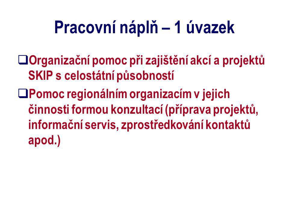 Pracovní náplň – 1 úvazek  Organizační pomoc při zajištění akcí a projektů SKIP s celostátní působností  Pomoc regionálním organizacím v jejich činn