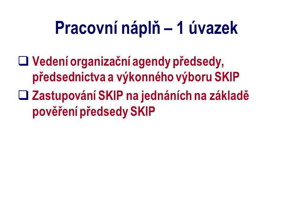 Pracovní náplň – 1 úvazek  Vedení organizační agendy předsedy, předsednictva a výkonného výboru SKIP  Zastupování SKIP na jednáních na základě pověř
