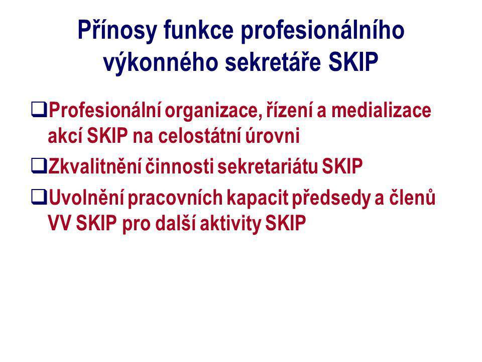 Přínosy funkce profesionálního výkonného sekretáře SKIP  Profesionální organizace, řízení a medializace akcí SKIP na celostátní úrovni  Zkvalitnění činnosti sekretariátu SKIP  Uvolnění pracovních kapacit předsedy a členů VV SKIP pro další aktivity SKIP